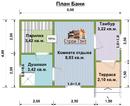 Баня из бруса. Проект Б-2. Размеры 6х4м. Площадь - 24м2